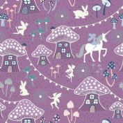 Lewis & Irene - Fairy Nights - 6907 - Toadstool Village on Purple  - A403.2 - Cotton Fabric